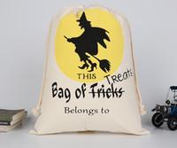 tuval çizmek torba toptan satış-Cadılar bayramı Tuval Şeker Çanta Hediye Çanta Trick veya Tedavi Çanta Beraberlik Çocuklar Için Olay Parti Malzemeleri Dekor Cebi