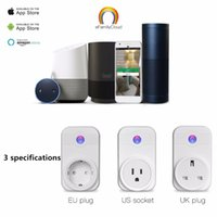 Wholesale Smart Wifi Plug Socket Outlet Adapter US EU UK Plug With APP Remote Control Intelligent Device Compatible with Alexa Echo Better Sonoff