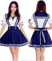 Wholesale sexy japanese women cosplay for sale - New sexy lingerie cosplay Halloween Lolita Japanese Sailor Suit Student COS Anime Costume Blue Navy Princess Dress Skirt Stude