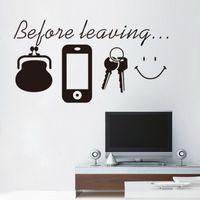 canlı anahtarı toptan satış-duvar sticker Ana Sayfa Oturum dekor Vinil Sanat Çanta Telefon Keys ayrılmadan önce söyleyen Alıntılar Salon Yüz Duvar Stickers Gülümseme