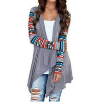 Wholesale trendy winter sweaters - Women Long Cardigan 2018 Women's Trendy Winter Knitted Sweater Open Stitch Long Sleeve Cardigans Casual Aztec Striped Print Tops