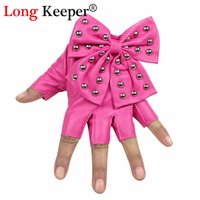halbfingerhandschuhe großhandel-Frau Handschuhe Abend Damen 2016 neue halb fingerlose Handschuhe PU Leder Bogen Handschuhe Halbfinger Frau Tanz G-082