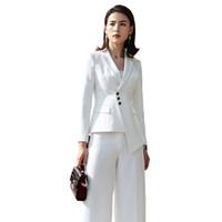 ingrosso abiti da lavoro per le donne-2018 Suit Suit New Fashion Business Interview Host Tuta Suit pantaloni a gamba larga OL Manager Office Lady Abbigliamento
