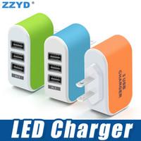 ports usb chargeur mural eu achat en gros de-ZZYD 3 USB Chargeur mural LED Adaptateur de voyage 5V 3.1A Triple Ports chargeurs Accueil US Plug UE pour Samsung S8 Note 8 iPX