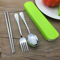 wholesales for cutlery Canada - DHL 200Set Portable Steel Cutlery Chopstick Spoon Fork Dinnerware Set Perfect For School Bento Lunch Box Flatware Set