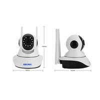 ip kamera kuppel wifi pfanne großhandel-ESCAM G02 Doppelantenne 1MP HD 720P Wifi IP-Kamera Infrarot-Innenkuppel Pan / Tilt IR-Cut Zwei-Wege-Talk-Mini-Camcorder unterstützen 128G