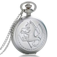 bolsillo de metal completo al por mayor-Silver Full Metal Alchemist Dull Polish Theme Reloj de bolsillo de cuarzo Fob reloj colgante regalos Steampunk
