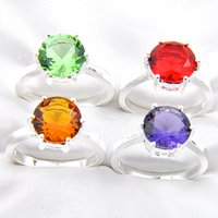 Wholesale Sterling Silver Ring Quartz - Mix Color 10pcs lot Wholesale Holiday Jewelry Gift Party Jewelry Round Shaped Topaz Quartz Amethyst Gems 925 Sterling Silver Ring