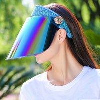 sombrero de visera de ala grande al por mayor-Ajustable Transparente Big Brim Sunhat para mujer Señoras Protección UV Summer Sun Hat Caps Casco al aire libre Viseras de playa Plegable