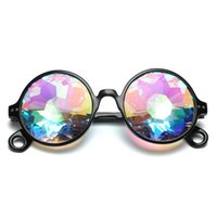 Wholesale rainbow sunglasses - Brand Designer UV400 Outdoor Retro Geometric Kaleidoscope Glasses Rainbow Rave Lens Bling Bling Prism Crystal Party Diffraction Sunglasses