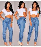 yüksek kemer kot ücretsiz gönderim toptan satış-Bayanlar Artı Büyük Boy Yüksek Bel Elastik Bel Casual Gevşek Fit Jeans Kadınlar Ücretsiz Kargo