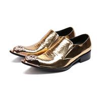 calçado de baile de salto baixo venda por atacado-Ouro Fresco Desinger Oxford Sapatos Para Homens Italiano Vestido de Baile Salão de Calçados Novos Apartamentos de Couro Genuíno Sapatos Flats
