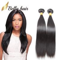extensions de cheveux populaires achat en gros de-Bella Hair® - Extensions de cheveux populaires brésiliennes à double trame, faisceaux de cheveux raides couleur naturelle 9A, 2pcs / lot, longueur mixte, tissages de 10 ~ 24 pouces