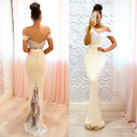 Wholesale Purple Gold Baby Shower - 2018 New Elegant Mermaid Bridesmaid Dresses Sexy Off Shoulder Backless Appliques Long Maid of Honor Gowns Wedding Reception Baby Shower Gown