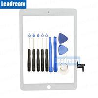 ipad hava cam dokunmatik ekran toptan satış-Leadream / En Kaliteli Sayısallaştırıcı Dokunmatik ekran olmadan iPad Hava 1 için Ana Düğme + Araçlar Cam Panel Değiştirme Ücretsiz Kargo