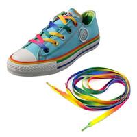 flache athletische schnürsenkel großhandel-Großhandels Schnürsenkel-Regenbogen-flache Segeltuch-athletische Schnürsenkel-Sport-Turnschuh-Freizeitschuhe Schnürsenkel-Schnur-Schuh-Zusätze EH042