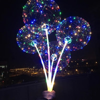 декоративное освещение шаров оптовых-Бобо шар с палкой цветной свет Световой прозрачный светодиодные шары для свадьбы Рождество украшения дома гелий воздушный шар