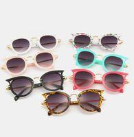 Wholesale framed baby prints - Baby Kids Sunglasses Girls hollow Cat ear floral printed Glasses Boys Uv Eyewear children Shades Goggles kids beach protection YA0080