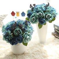 ingrosso nozze delle rose blu-1bouquent Blue Wedding Rose Branch Fiori artificiali di rosa freschi fiori realistici delle rose per la decorazione del regalo di nozze del partito domestico