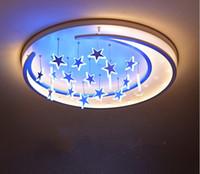 mond stern deckenleuchten großhandel-Kreative Persönlichkeit Romantische Star Moon LED Deckenleuchte Kühl / Warm / Fernlicht Optional für Kinderzimmer Schlafzimmer Kinder LLFA