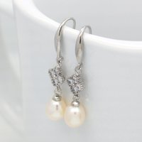 Wholesale earring freshwater pearl - The latest fashion design natural freshwater pearl earrings silver earrings with white pearl personalized gifts wholesale