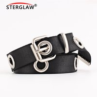 Wholesale korean air women resale online - Fashion Women Canvas Belts for women Hollow Out Air Hole Korean Style Decoration Belt Designer Unisex Casual Solid Color N128