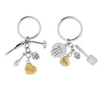 Wholesale mom keychains - I Love You mom dad Keychain Heart kitchen Ware Hand Tools Key Chain Key Rings Holder Bag hangs Jewelry Mother Father Gift Drop Ship 340039