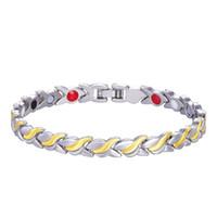 Wholesale gold bracelets for men - Unisex Health Energy Germanium Magnetic Bracelet for women Men Fashion Copper Jewelry Chain Link Bracelet Bangle drop shipping wholesale