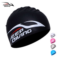 Wholesale protect hair color - KEEP DIVING 100% Silicone Swimming Cap For Women Men Children Kids Long Hair Silica Hood Ultrathin Hat Protect Ears Waterproof
