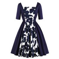 marineblaue kleidungshülsen beiläufig großhandel-Marineblau Frauen Elegent Fit Und Flare Kleid 2018 Vintage druck party vestidos Kurzarm Casual frauen Herbst Kleid
