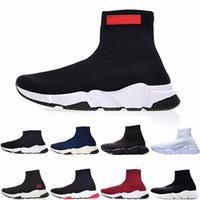 Wholesale slip canvas sneakers for men resale online - Cheap Mens BL Luxury Designer fashion Shoes for women men Speed Trainer Black Red Triple Black Flat Fashion Socks Boots mens Sneaker zapatos