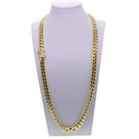 Wholesale Iced Out Bling cuban necklace set Full Paved cz clasp Hip Hop Necklace bracelet set for Men Miami Cuban Link Gold filled Men s Chain