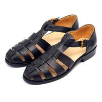 кожаные сандалии оптовых-2018 Новый Римская обувь мужчины женщины ручной проводной ретро волы кожаные сумки и чистый черный улица кожаные сандалии