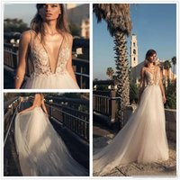 Wholesale Red Garden Stones - 2018 Betra Illusion Deep V Neck Tulle A Line Wedding Dresses Beaded Stones Backless Court Train Wedding Bridal Gowns