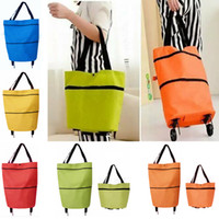 Wholesale portable trolleys - Shopping Trolley Bag With Wheels Portable Foldable Shopping Bag reusable storage Shopping Wheels Rolling Grocery Tote Handbag HH7-1230