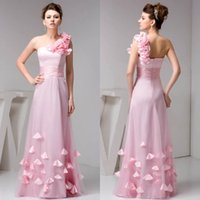 Wholesale simple floral prom dresses - 2018 Pine New Long Bridesmaid Dresses One Shoulder Tulle Prom Dresses 3D Floral Ruffles Ruched Floor Length Wedding Guests Gowns WD4-1204