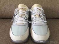 12 ayakkabı bağcık toptan satış-Ekstra dantel ve Kutu Ayakkabı ile off white nike air max 90 Buz 10X Mavi Spor Koşu Ayakkabıları erkekler Kadınlar 90 s Gri Açık Koşu Rahat Sneakers AA7293-100 Boyutu abd 7-12