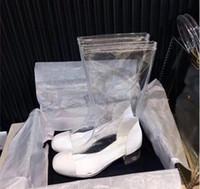 Wholesale fashion rain boots women - Luxury brand New Women Designer Fashion PVC Clear Plastic Rain boots Lady Girls quality European Style with box
