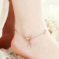 Wholesale gold butterfly anklet - Anklets women Jewelry Butterfly Double Diamond Tassel Rose Gold Anklets Bracelet Ornament summer Beach Multilayer Leg Chain Boho Ethnic 2018