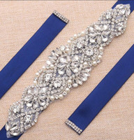 Wholesale Wedding Dresses Belts - Wedding Belt Rhinestones sash bridal gown belts Silver Crystal Rhinestones wedding dress girdle for Wedding gown YS837