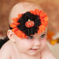 Wholesale pumpkin headbands - Baby Halloween Headbands Flower Chiffon Pumpkin Headbands Boutique Kids Girls Chiffon Rhinestone Elastic Hairbands Hair Accessories KHA554