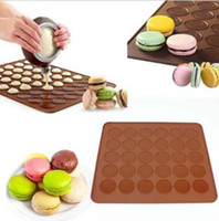 Wholesale Wholesale Cakes Pastries - 30-Cavity Pastry Muffin Cake Macaron Oven Baking Mould Mold Sheet Mat Silicone Macaron Baking Mold Set With Retail Package CCA9452 50set