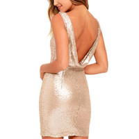403f2741ad13 Summer Women Sexy V Backless High Waist Slim Short Dresses Shiny Sequined  Champagne Golden Female Party Mini Dress elbise