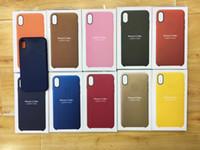 boîtes pour la couverture iphone achat en gros de-Bouton en plastique XS Max cas en cuir PU Logo officiel Style Style Cover Cover pour iPhone XS XR cas 5.8 / 6.1 / 6.5 pouces 8 7 Plus boîte de détail