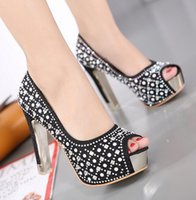 Wholesale shoe shallow fish - Hot! Women high heels overheight with Waterproof Shallow mouth Fish mouth European American style Sexy stilettoHeel Rhinestone Women shoes