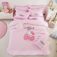 Wholesale hot pink beds for sale - Hello Kitty Bed Skirts Flat Sheet Fitted Sheet Bedding Set Cartoon Bed Linens for Adult Kids Gift Duvet Cover Set Bedclothes Hot