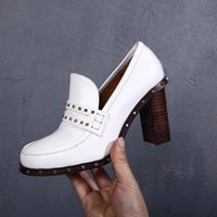 Wholesale white round pump heels - Brand women casual cow leather high heeled Moccasins shoe fashion Metal rivets Pumps office lady dress Wedding shoe Heels,,35-40