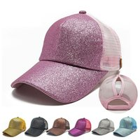 Wholesale fitted mesh baseball hats - 9 Colors CC Glitter Ponytail Baseball Cap Fitted Hat Messy Bun Snapback Hip Hop Caps Women Mesh Designer Hats
