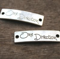 Wholesale connector infinity pendants - 15PCS lot -One Direction Charms, Antique tibetan silver One Direction Pendant Connector --Infinity One Directioner,39x11mm