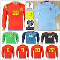 Wholesale spain long sleeve - 2018 Spain World Cup Long Sleeve Soccer Jerseys 6 A. INIESTA 9 CALLEJON 20 ASENSIO ISCO SERGIO RAMOS PIQUE Custom Espana Football Shirt